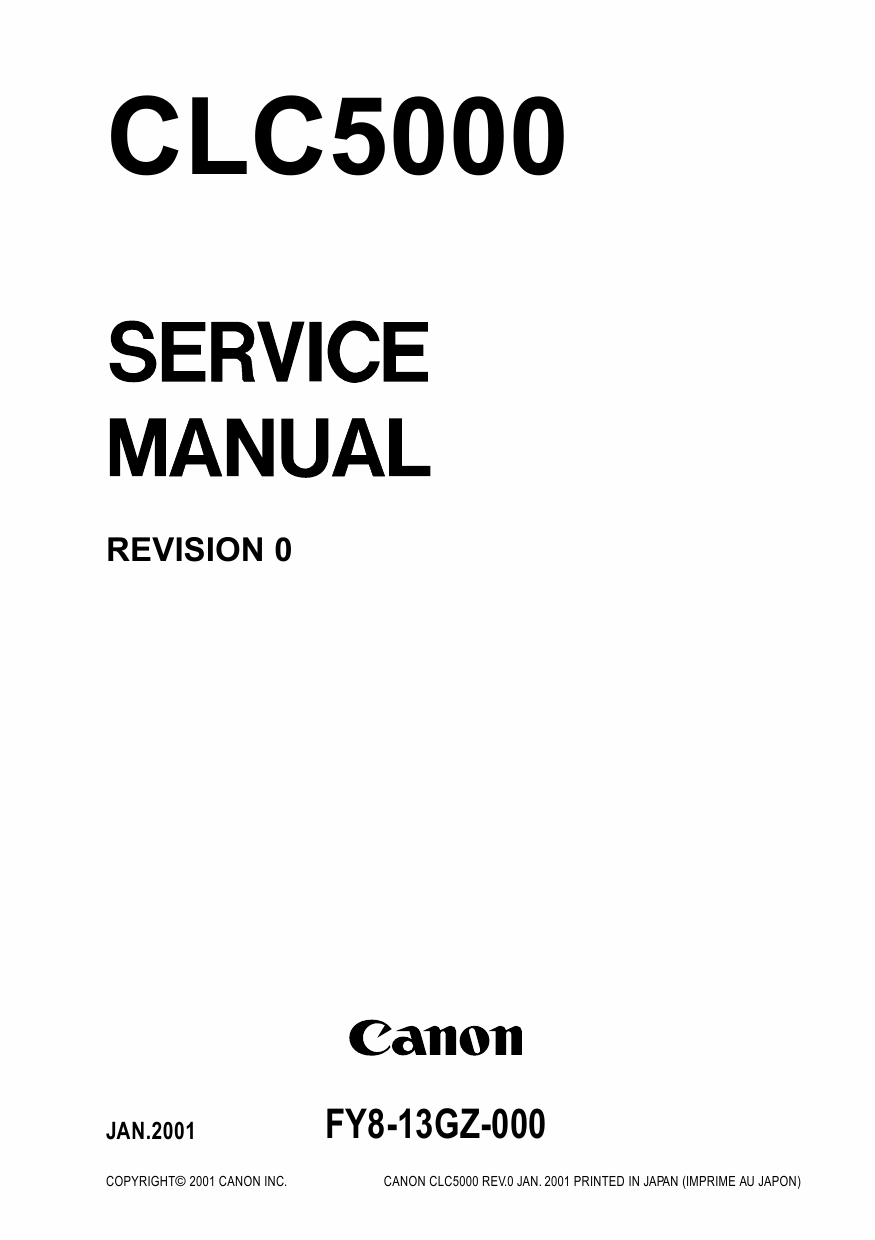 Canon ColorLaserCopier CLC-5000 Parts and Service Manual